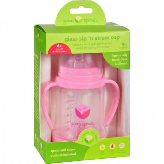 Green Sprouts Cup  Sip N Straw  Glass  6 Months Plus  Pink  1 Count