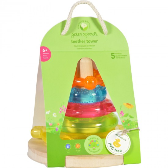 Green Sprouts Stacking Teether Tower  6 Months Plus  Dream Window  1 Count