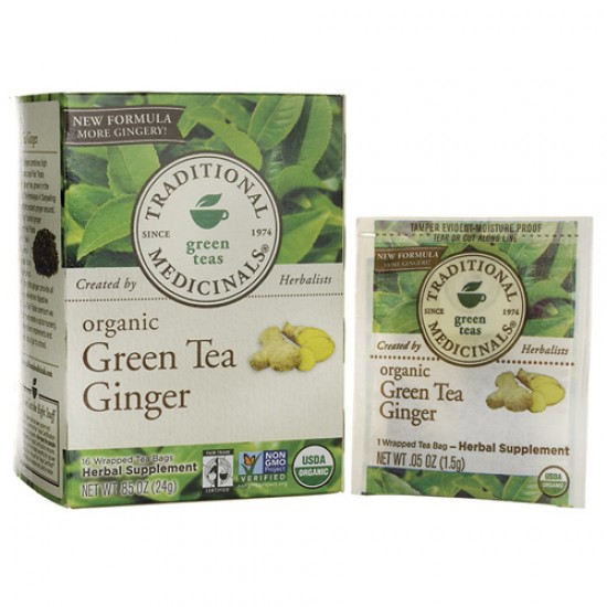Traditional Medicinals Green Tea With Ginger (1x16 Bag)