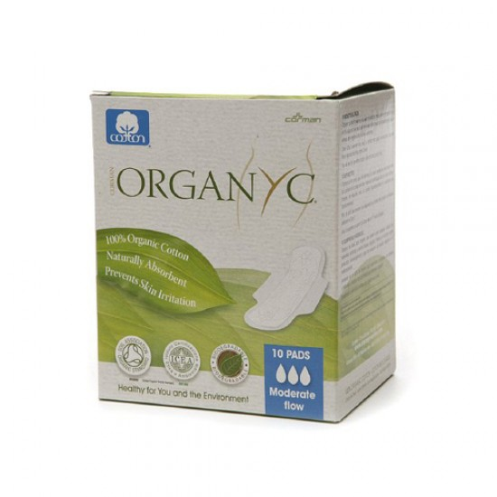 Organyc Cotton Feminine Day Pads Folded with Wings (1 x10 Count)